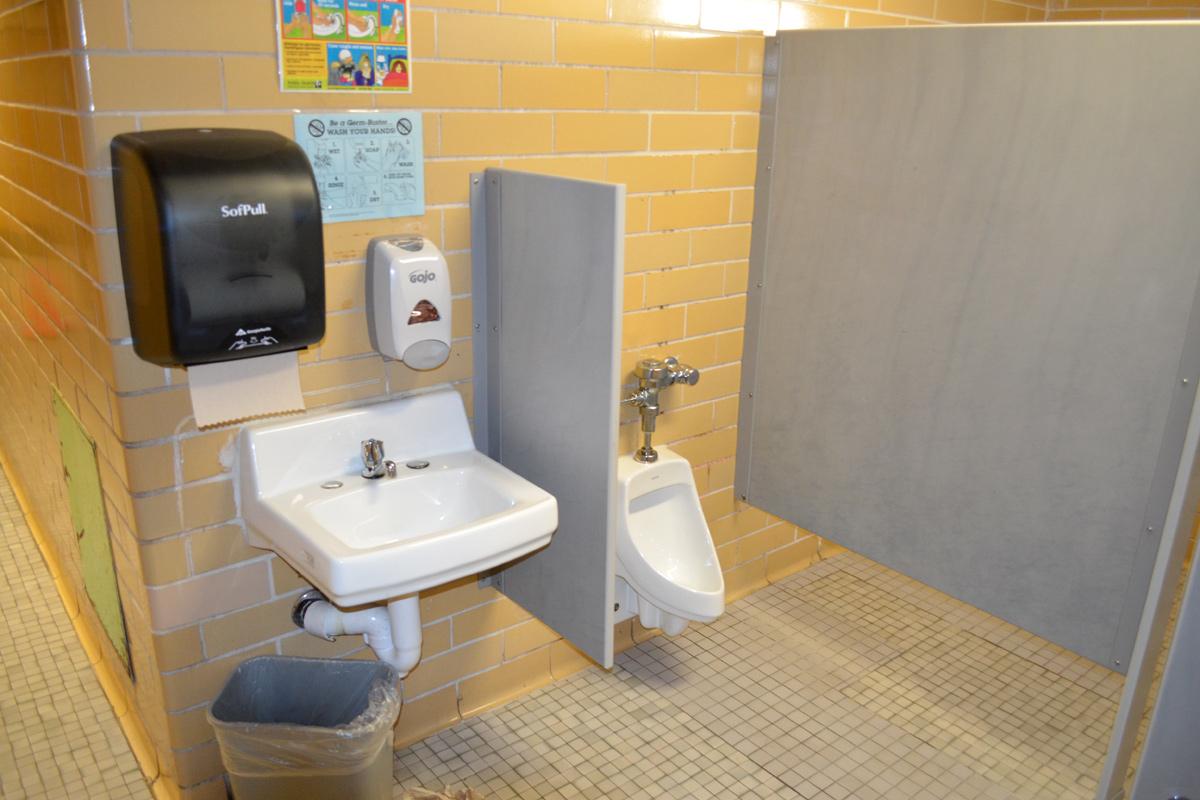 Elementary school bathroom urinal -  Restroom Stall Sink And Urinal